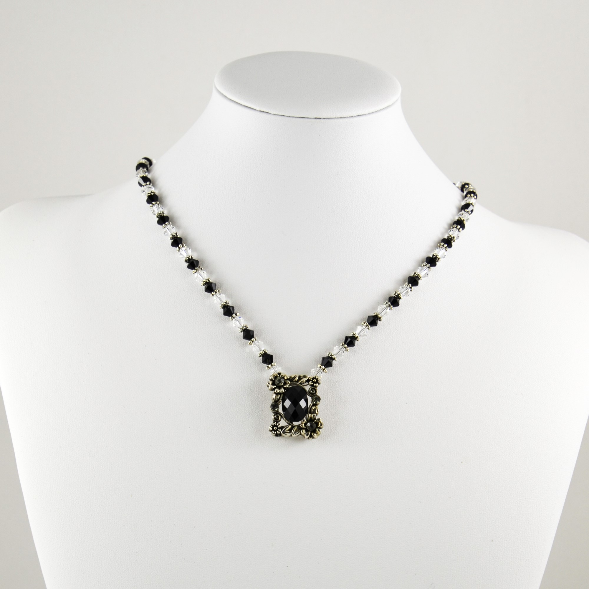 no crystal product swarovski pvd medium jet necklace pendant jewelry gallery in black color hematite stone lyst